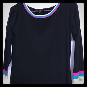 Cable & Gage Black Sweater Neon Accents Small